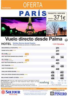 PARÍS - Avión + Hotel - salidas desde Palma de Mallorca - Octubre ultimo minuto - http://zocotours.com/paris-avion-hotel-salidas-desde-palma-de-mallorca-octubre-ultimo-minuto/