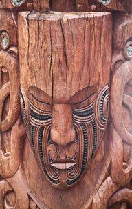 Maori Art, Wood Carving, Rotorua, New Zealand by stephanieetstephane, via Flickr