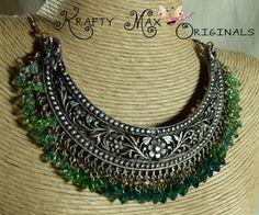 Green Swarovski Crystal Metal Form Necklace from Grandmothers STASH | KraftyMax - Jewelry on ArtFire