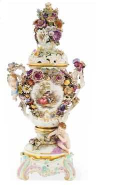 FLOWER-ENCRUSTED POT-POURRI VASE, painted with a vignette of lovers seated before trees with a bird-cage    Meissen Porcelain Factory  19th Century