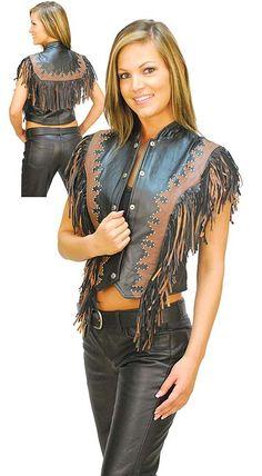 Women's Stud and Fringe Western Leather Vest