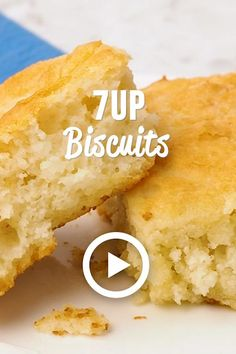 Biscuits by Plain Chicken. This easy recipe is light and fluffy. They only have four ingredients – THE BEST biscuits 7 Up Biscuits Recipe, Biscuit Recipe Video, 7 Up Bisquick Biscuits, Seven Up Biscuits, Sour Cream Biscuits, Homemade Rolls, Quick Meals, Brunch Recipes, Mexican Food Recipes