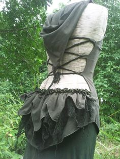 PanGaia Creations: Organic cotton forest green backless hoodie top with leafy lace bustle