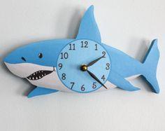 Shark Wooden WALL CLOCK for Kids Bedroom Baby Nursery