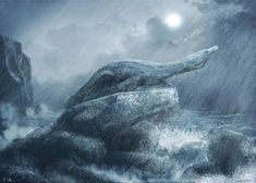 Triassic marine reptile, Nothosaurus, escapes the storm waves, from 2018. #palaeort Prehistoric Animals, Prehistory, Free Prints, Reptiles, Fossil, Whale, Dinosaurs, Painting, Pictures