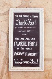 cute idea - chalkboard reception sign