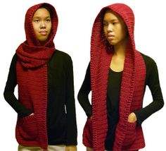 Ravelry: Hooded Scarf  3 Sizes pattern by Rachel Choi