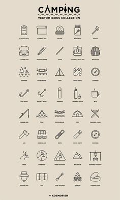 Hi guys! I come back here and share with you a set of free vector icons - camping! This set includes 40 modern look outline icons in vector presenting these fa Icon Design, Web Design, Logo Design, Vector Icons, Vector Free, Free Design Resources, Camping Icons, Line Art, Sketch Note