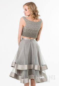 Terani Dazzling Crop Top Set with Layered Skirt