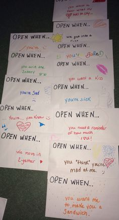 Open when card ideas. So cute for valentines day or a birthday.