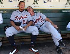 Andy Van Slyke with Miguel Cabrera Photo - Detroit Tigers v Oakland Athletics