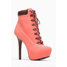 CiCiHot Dollhouse Melon Platfrom Ankle Bootie ($20) ❤ liked on Polyvore featuring shoes, boots, ankle booties, lace-up platform boots, lace up platform booties, platform bootie, lace-up ankle boots and high heels stilettos