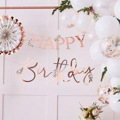 Party Big Story. Eshop-jedinečný sortiment pre Vašu oslavu... Happy Birthday Floral, Happy Birthday Bunting, Birthday Garland, Gold Birthday Party, Happy Birthday Balloons, Happy Birthday Parties, Birthday Celebrations, Party Bunting, Bunting Garland