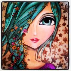 """Anna"" by Romina Lerda Art - Eyes Artwork, Creation Art, Arte Pop, Eye Art, Whimsical Art, Mixed Media Art, Painting Inspiration, Painting & Drawing, Tile Painting"