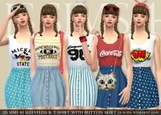 Sleeveless & T-Shirt With Button Skirt at JS Sims 4 via Sims 4 Updates