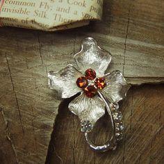 Orchid Flower Brooch antique vintage styled, bridesmaid, rhinestone diamante, wedding, mothers gift, men lapel, enamel, hijab #5240