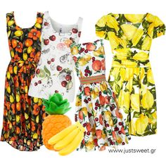 Fruit dress by justsweet on Polyvore featuring moda, H! by Henry Holland, American Apparel and FRUIT