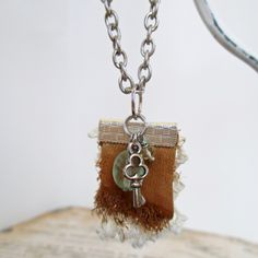 Fluorite Stone Charm Necklace, Tan Leather, Cream Lace & Silver Key Charm Necklace, Gift for Her, Holiday Shopping, Long Charm Pendant by SimplyMim on Etsy