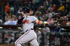 PHOENIX, AZ - AUGUST 23: Tyler Flowers #25 of the Atlanta Braves doubles to left driving in a run during the first inning against the Arizona Diamondbacks at Chase Field on August 23, 2016 in Phoenix, Arizona. (Photo by Jennifer Stewart/Getty Images)