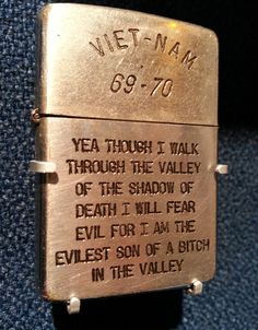"""For the servicemen and women in Vietnam during the war years between 1965 and the early 1970's, Zippo lighters became a form of personal expression, often inscribed with sentiments or sketches expressing feelings about war, conflict, and thoughts of home. Sometimes referred to as """"trench art,"""" these lighter are a barometer of the times in which they were made. Currently located at the Zippo/Case Museum."""