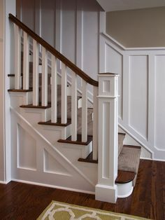 stair trim ideas staircase wainscoting design pictures remodel decor and ideas 1930s Semi Detached House, Banister Remodel, Paneling Remodel, Traditional Staircase, Staircase Makeover, Stair Railing, Railings, Banisters, Oak Handrail
