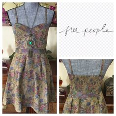 "Free People Tapestry Bustier Mini Dress.  NWT. Free People Tapestry Bustier Mini Dress, 100% rayon, lining 100% polyester, washable, 15"" armpit to armpit (30"" all around), 26"" empire waist (no stretch) 32.5"" length from maximum adjustable strap to hem, brocade mini dress, bustier bodice, sweetheart neckline, banded at waist, A-line skirt, side concealed zip, removable straps, elasticized mid back, measurements are approx.  No Trades... Free People Dresses Mini"