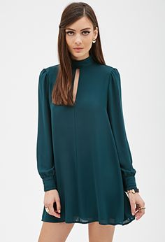 SheIn offers Dark Green Long Sleeve Shift Dress & more to fit your fashionable needs. Chic Outfits, Dress Outfits, Casual Dresses, Short Dresses, Women's Dresses, 60 Fashion, Modest Fashion, Fashion Dresses, Frack