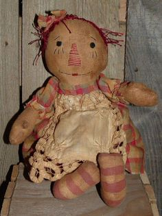 Raggedy Annie Ann folkart primitive doll pattern- 258