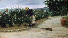"""Angiolo Tommasi (Livorno 1858 – Torre del Lago 1923), """"In giardino""""."""
