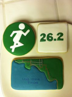 Triathlon cookies for the Ironman in Coeur D'Alene by Enticing Icing by Leia, via Flickr