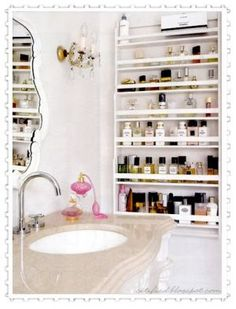 A great way to keep favorite beauty products organized and within easy reach.