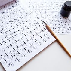 Drills help me feel more familiar with calligraphy flourishes, swirls, and loop… Calligraphy Worksheet, Brush Pen Calligraphy, Calligraphy Tutorial, Hand Lettering Tutorial, Calligraphy Handwriting, Calligraphy Letters, Typography Letters, Penmanship, Caligraphy