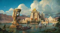 Ancient Egypt - Anubis, Pyramids And The Nile - Handmade Oil Paintings On Canvas - Egyptian Decor - Fantasy City, Fantasy Places, Fantasy World, Fantasy Art Landscapes, Fantasy Landscape, Landscape Art, Ancient Egypt Pyramids, Ancient Egypt Art, Ancient Aliens