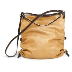 INA KENT AD LIB4 'beige/metallic platin' leather bag ($290) ❤ liked on Polyvore featuring bags, handbags, shoulder bags, beige, long strap shoulder bag, leather backpack, over the shoulder bag, leather laptop backpack and foldable backpack