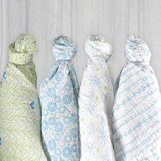 Magnolia Organics 4 Pack Swaddle Blankets - Blue