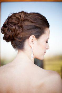 Classic, Yellow, Vineyard Wedding - Hair,  Bride,  Earrings