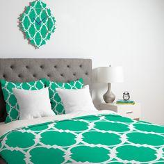 Rebecca Allen Pillow Talk Turquoise Duvet Cover | DENY Designs Home Accessories