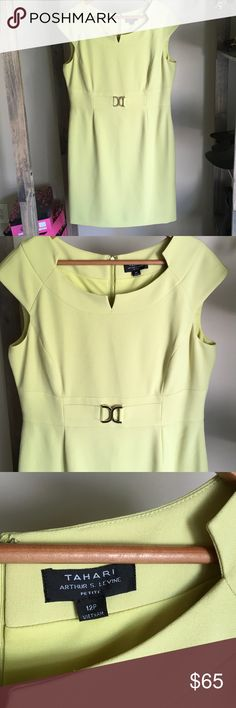 "🆕 Listing! Lime green Tahari dress Beautiful, like new condition dress from Tahari Arthur S. Levine.  Size 12 petite.  Zipper down the back.  Color is brighter than in pictures, couldn't find better lighting to show true color.  Length measures 36.5"" Tahari Dresses"