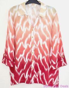 JM Collection Womens Shirt Linen Collar Button Front 3/4 Sleeve Blouse Tunic 6  #JMCollection #ButtonDownShirt #Versatile