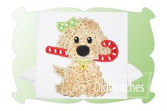 Dog With Candy Cane Girl Applique