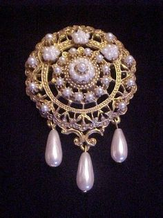 Vintage Signed FLORENZA Pearl Dangle