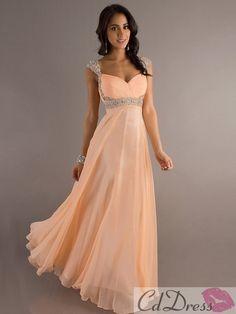 Glamorous A-Line/Princess Straps Sleeveless Beading Floor-Length Chiffon Dress