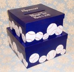 The perfect compliment to your sports themed event is this 2-tiered gift card box. Any sport can be created onto the box at no added charge. Colors can be changed and personalization added. Please go to www.PaintedDesignsByKaren.com for more designs.