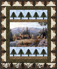 Sewing Quilts Log Cabin Trees Panel Quilt Pattern Great cabin quilt using simple pieced border blocks. - Great cabin quilt using simple pieced border blocks. Fabric ahown is Northcott Fabrics High Ridge Crossing Collection. Tree Quilt Pattern, Lap Quilt Patterns, Pattern Fabric, Quilting Projects, Quilting Designs, Quilting Ideas, Sewing Projects, Wildlife Quilts, Fabric Panel Quilts
