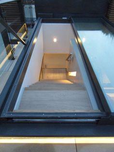 roof access via skylight height limitation Roof Access Hatch, Roof Hatch, Roof Skylight, Roof Window, Skylights, Rooftop Design, Outside Room, Glass Floor, Retractable Pergola