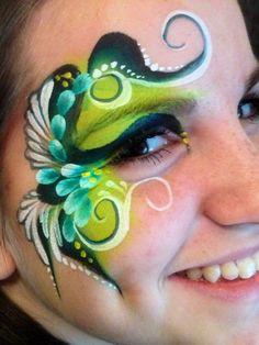 Laura Oliver || onestroke eye design using global Face Painting Flowers, Adult Face Painting, Belly Painting, Face Painting Designs, Face Paint Makeup, Makeup Art, Cheek Art, Kids Makeup, Face Design