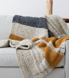 Knitted Afghans, Knitted Blankets, Manta Crochet, Knit Crochet, Knitting Patterns Free, Knit Patterns, Stitch Patterns, Free Pattern, Lion Brand Wool Ease