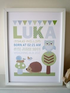 Owl/ Woodland Theme personalised print unframed large, picture, baby gift | eBay