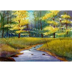 Painting Watercolor Painting Print watercolor landscape painting Tree River  Fall Creek stream art watercolour Paintings 10x14 Giclee