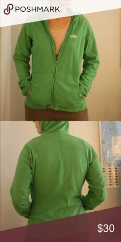 Green North Face Outdoor Fleece Zip Hoodie Light green North face fleece. Used but in good condition! The North Face Jackets & Coats Utility Jackets